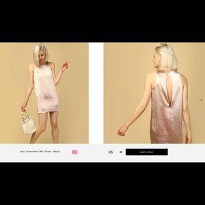 Line and dot pink satin shift dress TAGS ON